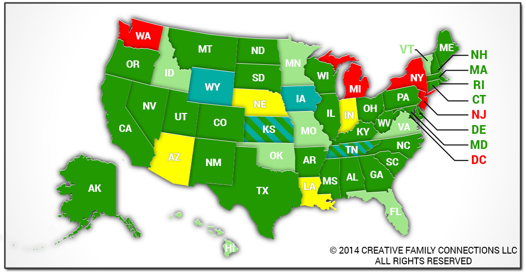 surrogacy laws by state map Map Gestational Surrogacy Law By State Hetero Couples